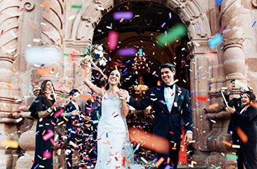 Battife Confetti Wands 7Pack Colorful Tissue Paper Confetti Flick Flutter Sticks for Wedding Celebrations, Anniversary, Birthday, Multi-Color, 14 inch