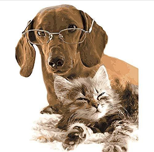 Holzpuzzle Lernspielzeug Puzzle 500 Stück Für Erwachsene 3D Classic Puzzle Mit Brille Hund Und Schielen Katze Tier DIY Pädagogisches Puzzle Home Decor Einzigartiges Geschenk-53X38Cm