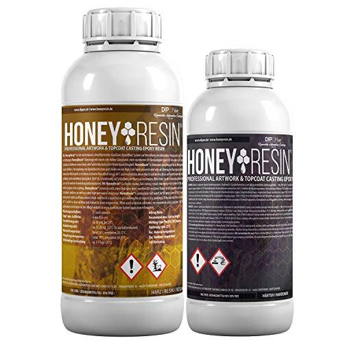 1,5 KG HoneyResin Epoxidharz Professional ArtWork & TopCoat Epoxy Resin Hochviskos I Schnellhärtend I Für Versiegelungen von Holz, Canvas, 3D Böden, Küchenarbeitsplatten, Resin Art