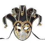 BLEVET Veneciano Máscara para Mujeres Halloween Carnaval Fiesta Ball Party Carnaval Mascarada MZ109 (Black)