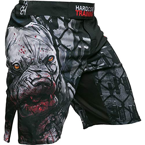 Hardcore Training Pitbull City Schwarz Fight Shorts Kurze Hose Herren MMA BJJ Grappling Fitness Boxen Muay Thai No Gi