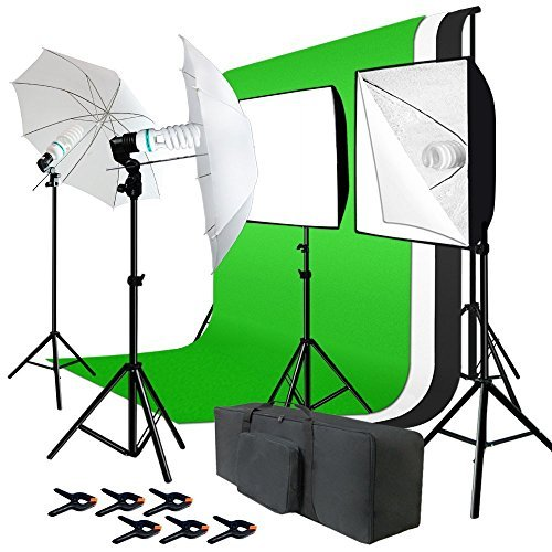 Julius Studio Photo Studio Kit 6 x 9 ft. Green White Black Muslin Backdrop Screen & Supporting...