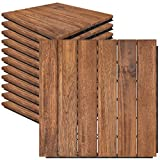 Mammoth Sustainably Sourced Solid Acacia Wood Oiled Finish Tools Free Assembly Interlocking Deck Tiles, Water Resistant Outdoor Patio Pavers or Composite Deck Flooring, Pack of 11 (11 SQFT) (Stripe)