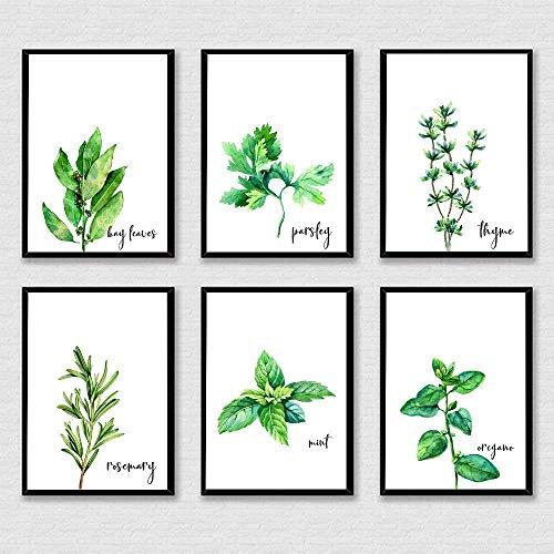 Thyme Rosemary Parsley Print - 8' x 10' - Unframed, Botanical Herbs Prints, Basil Kitchen Decor, Mint Herbs Poster, Watercolor Eucalyptus Print Set of 6