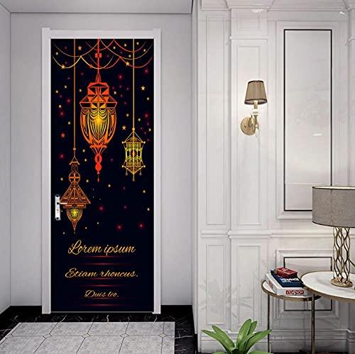 3D Etiqueta de Puerta Lámpara de araña Etiqueta De La Puerta 3D Puerta Arte PVC Puerta Pegatinas Mural,Vinilo Door Sticker Wallpaper,Decoración de Hogar Arte Moderno 86x200cm