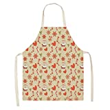 2pcsChristmas Apron Santa Claus Pinafores Cotton Linen Aprons 53 * 65cm Woman Adult Bibs for Home Kitchen Cooking Baking-CM00-9,a