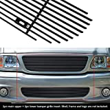 APS Compatible with 99-03 Ford F-150 Lightning Black Billet Grille Combo F87932H