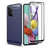 GOGME para Samsung Galaxy A52 4G/A52 5G/A52s 5G Funda y 2 Piezas Cristal Templado, Cubierta Delgado de Silicona Funda Protective Case Cover, Carcasa Fibra TPU Protección Golpes Durable - Azul
