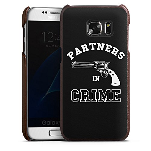 DeinDesign Samsung Galaxy S7 Lederhülle Leder Case Leder Handyhülle Pistole Partner Friendship
