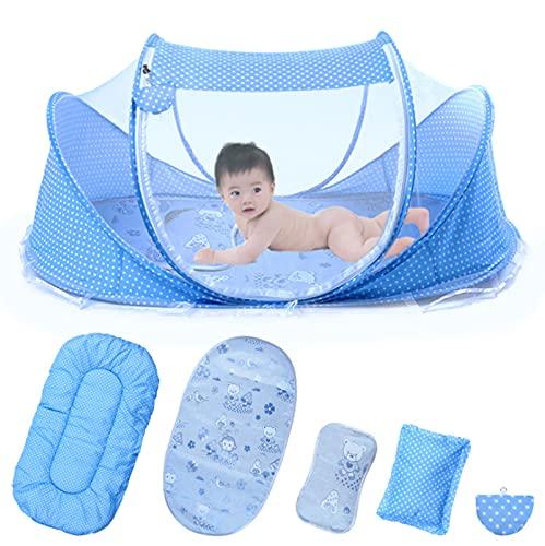 YIKANLIA Tienda de Playa de bebé, Cama de Viaje para bebés, con colchón de Almohada de colchón de Almohada de Verano Portátil Cuna Cuna de bebé Cuna recién Nacida Plegable para 0-24 Meses,Azul