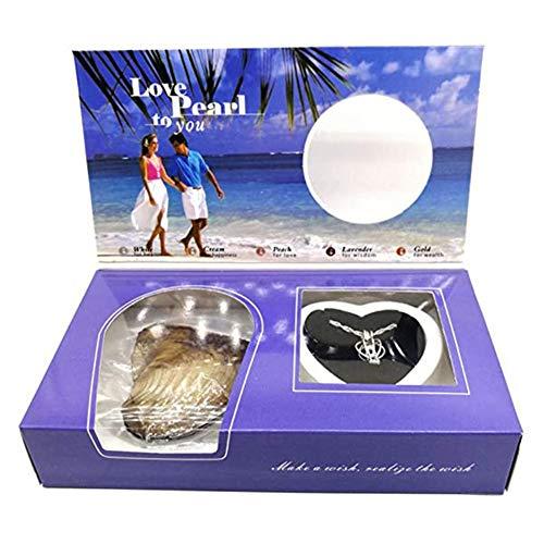 Wish Pearl Kit Love Pearl Creations Kit, Herzkäfig Medaillon Halskette, Anhänger Halskette DIY Kreative Halskette Schmuck Geschenkset, mit Box Pearl in Oyster, für Frauen Mädchen