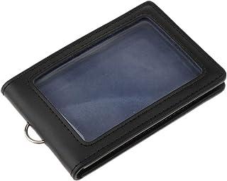Colcolo Porte-badge En Cuir PU Portefeuille 2 Poches pour Cartes Verticales - Noir