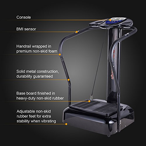 Pinty 2000W Whole Body Vibration Platform Exercise Machine with MP3 Player (180 Speed Levels Platform)