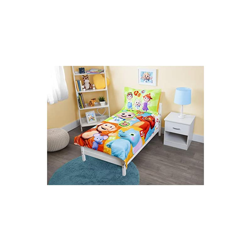 """crib bedding and baby bedding cocomelon""""learning is fun"""" 4piece bedding set, multicolor"""