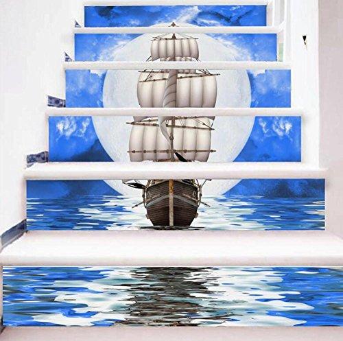 3D Stair Autocollant Autocollants muraux Bricolage Auto-adhésif Ballon reconstitué Papier Peint Eco-friendly en PVC Peinture Mural Art Décorations à la maison Amovible, facile à appliquer, 1 jeu (6 pc