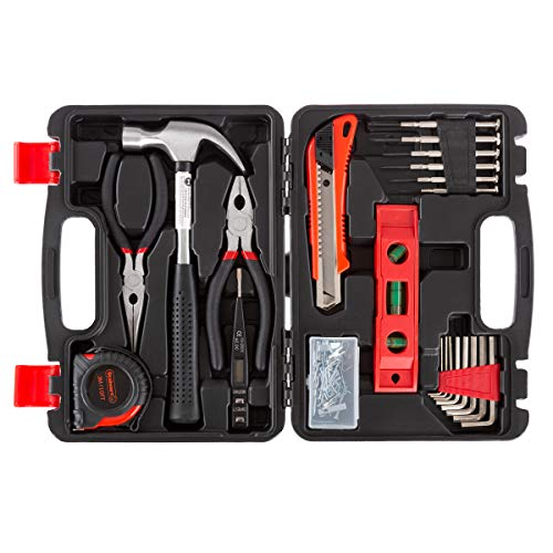 Stalwart Tool Kit - 102 Heat-Treated Pieces with Carrying Case - Essential Steel Hand Tool and Basic Repair Set for Apartments, Dorm, Homeowners