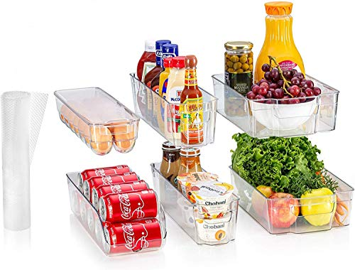 Sagler Fridge Organizers Set of 10-Stackable Refrigerator Bins, Set Includes 6 Food containers and 4 precut Shelf Liners shelfs, Clear