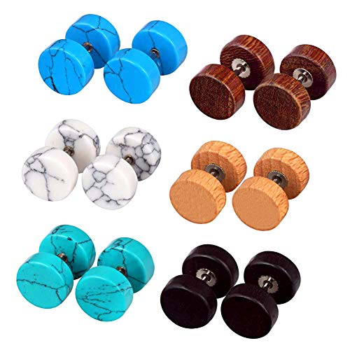 Longbeauty 6 Pairs Fake Ear Gauge-Ear Plug-Ear Stud Earring Organic Wood Stone Set 8MM