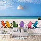 Fotomural Vinilo Pared,Sillones De Playa De Colores Minimalista Moderno Fotomural Mural Para Paredes Decorativo Comedores, Salones,Habitaciones(200x140cm)