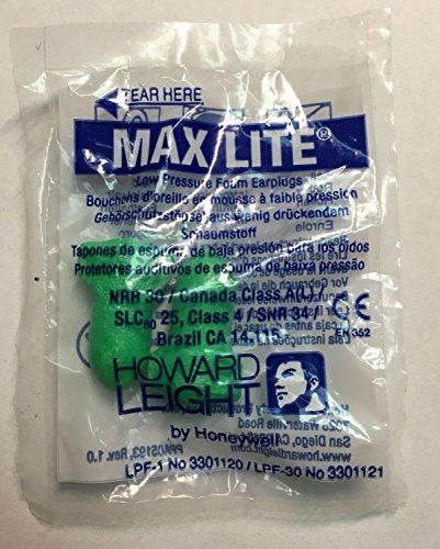 Howard Leigt Max Lite, 10 pares, embalados por pares, verde, SNR 34 dB, protección auditiva, tapones para los oídos, tapones para los oídos, tapones para los oídos
