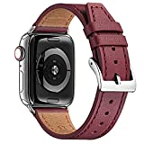 FENGLIN Echt Lederband Kompatibel mit Apple Watch Armband 38mm 40mm 42mm 44mm Klassisches...
