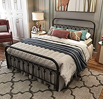 Metal Bed Frame Queen Size with Vintage Headboard and Footboard Platform Base Wrought Iron Bed Frame  Queen,Black