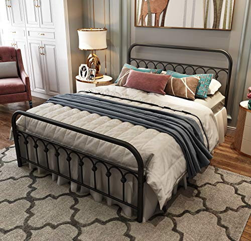 Metal Bed Frame Queen Size with Vintage Headboard and Footboard Platform Base Wrought Iron Bed Frame (Queen,Black)