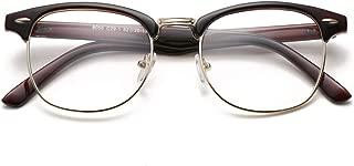 Vintage Semi-Rimless Clear Glasses Fake Nerd Horn Rimmed Eyeglasses Frame