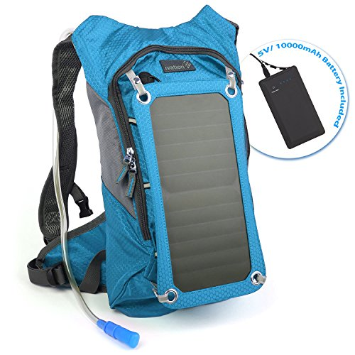 Ivation 7W Solar charging 1.8L Hydration Backpack/Bladder Bag w/Flexible Drinking Pipe,...