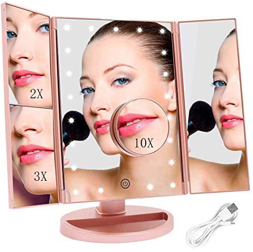 FASCINATE Espejo Maquillaje con Luz, Espejo de Mesa Tríptica Espejo con Aumentos...