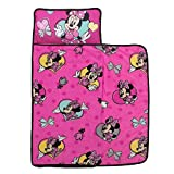 Disney Minnie Mouse Toddler Nap Mat with Attached Pillow and Blanket, Pink, Aqua, Yellow