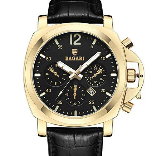 Dilwe Männer Armbanduhr, Sport Modische Stilvolle Beiläufige Männliche Armbanduhr mit Lederband Glas Etui(Gold + Schwarz)