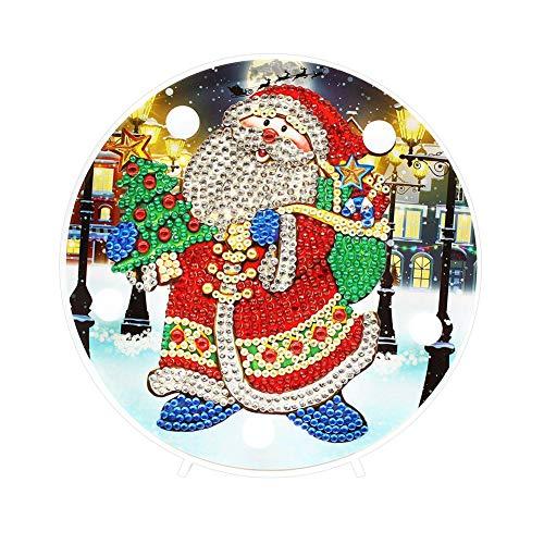 Domybest Papa Weihnachten DIY 5D Diamond Painting Komplett mit LED-Lampe warmweiß Nachtlicht Kinder Tischlampe batteriebetrieben Dekorative Lampe für Schlafzimmer Wohnzimmer