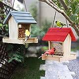 comedero pajaros exterior,Comedero para pájaros para colgar en el exterior,agujeros de drenaje integrados para mantener las semillas de pájaros secas y frescas,gancho en S extra resistente al óxido