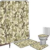 Juego de cortinas baño Accesorios baño alfombras Camuflaje Alfombrilla baño Alfombra contorno Cubierta del inodoro Patrón de camuflaje tradicional Tema de supervivencia en la jungla clásica,Crema verd