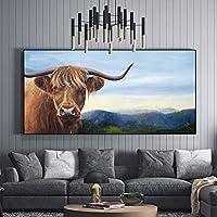 ファッション現代の動物のポスターと版画キャンバスに印刷された油絵高山牛牛ハイランド牛アート壁の写真リビングルーム30x90cm