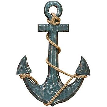 "Benzara 91620 Wood Anchor with Rope Nautical Decor, 18"" H/12 W, Aqua Blue"
