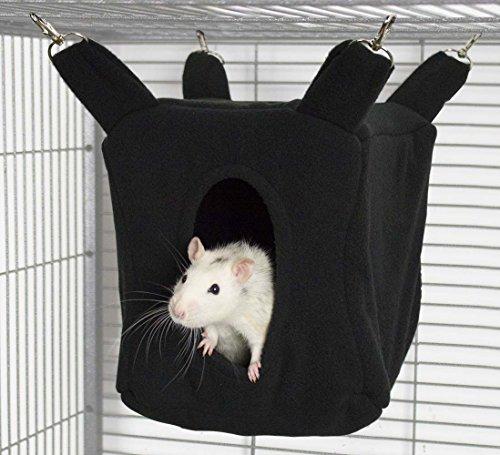 Rodents Residence Würfel Kuschelhängematte Kleintier Höhle Haus Häuschen Ratte Chinchilla Frettchen Degu (Schwarz)