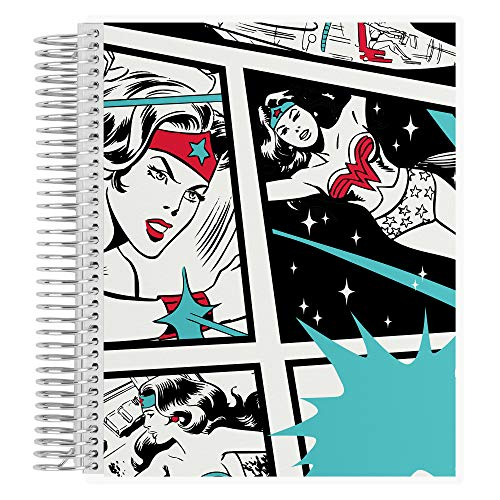 """Wonder Woman 8.5"""" x 11"""" Classic Comic Spiral Coiled College Ruled Notebook. 160 Lined Page Writing, Drawing & Art Book. 80Lb Heavy Duty Mowhawk Paper by Erin Condren"""