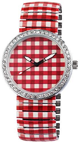 Excellanc Damen – Uhr Zugband Armbanduhr Strass Metallband Analog Quarz 1700032 (Rot/Weiß)
