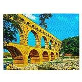 Francia Pont Du Gard Nimes Rompecabezas para Adultos, 500 Piezas de Madera, Regalo de Viaje, Recuerdo, 20.4 x 15 Pulgadas