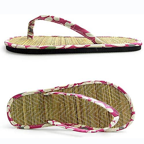 Flip Flop Bamboo Laminated Detail Paja Paja Mujeres Chanclas Cómodas Chanclas Unisex-Adultos Zapatillas, Zapatos De Playa Sandalias De Pareja,Rojo,36