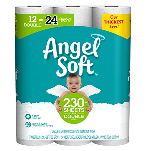 Angel Soft,  Toilet Paper, Double Rolls, 12 Count of 234 Sheets Per Roll