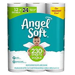 Angel Soft Toilet Paper, 12 Double Rolls = 24 Regular Rolls, 230+ 2-Ply Sheets Per Roll