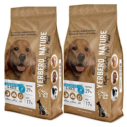 YERBERO Nature Salmon & Rice 2 uds de 3 kg de alimento sin Gluten Hipoalergenico para Perros con 17% de Ahorro.