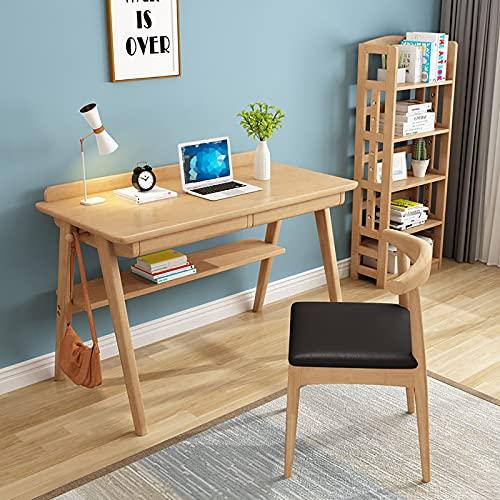 Mesa de Escritorio Escritorio de Madera Maciza para Computadora, Escritorio de Estudio, Escritorio para Computadora Portátil, para Oficina en Casa, Estilo Moderno y Simple