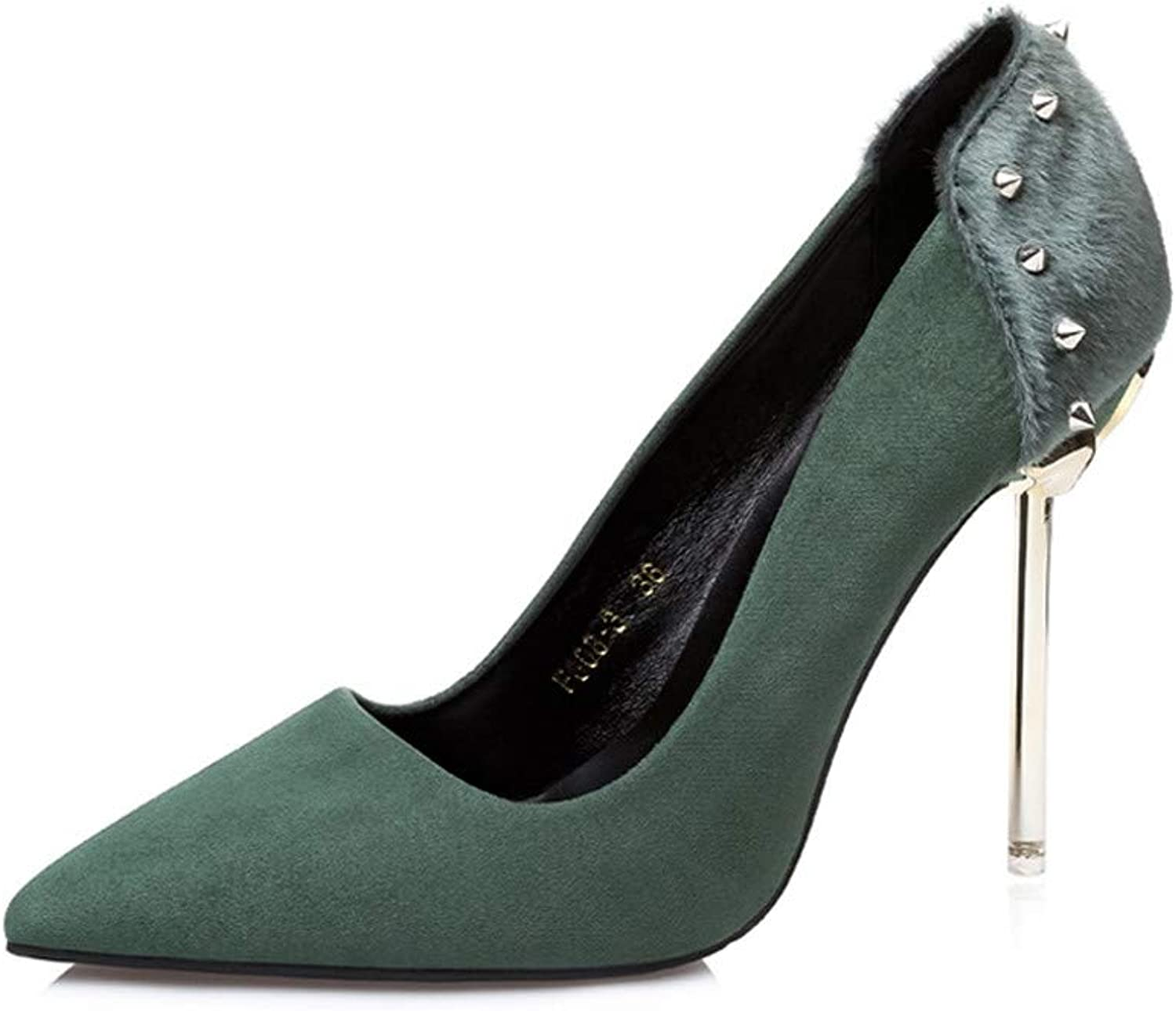 Women's Sexy Pointed Toe 3.93 inch High Heel Slip On Stiletto Pumps Large Size Basic shoes,Green,38