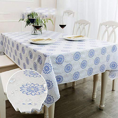 Traann Plastic Tablecloth Wipe clea,Square Table Cover Cloth Tablecloth And Various Sizes-Dirt Repellent Tablecloth Small floral-90 * 137_C