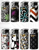 BIC Mini Jr Lighters Black & White - 8 lighters with Color and Design Maybe Vary