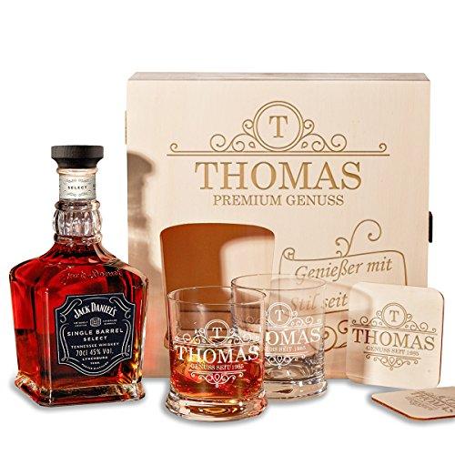 polar-effekt Holzkiste Personalisiert mit Gravur - mit Jack Daniel's Single Barrel Tennessee Whiskey - 6-TLG Whisky Geschenk-Set Motiv - Initial Ornament